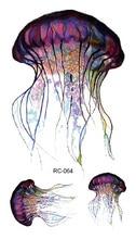 RC-064 Fashion Temporary Tattoo Stickers Beauty Body Art Jellyfish Colorful Fake Flash Taty Tattoo Water Transfer Tatuaje Taty