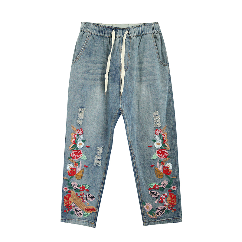 2017 New Women Vintage Floral Embroidery Denim Jeans Causal Elastic Waist Ripped Hole Jeans Ankle-Length  Pants Y369 2017 fashion women jeans retro style floral embroidery ripped hole denim pencil pants vintage mid waist ankle length trousers