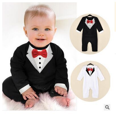 One-Piece Baby Boy Suit Gentleman Romper Spring Autumn Model Climbing Clothes Toddler Black White Baby boys Clothing