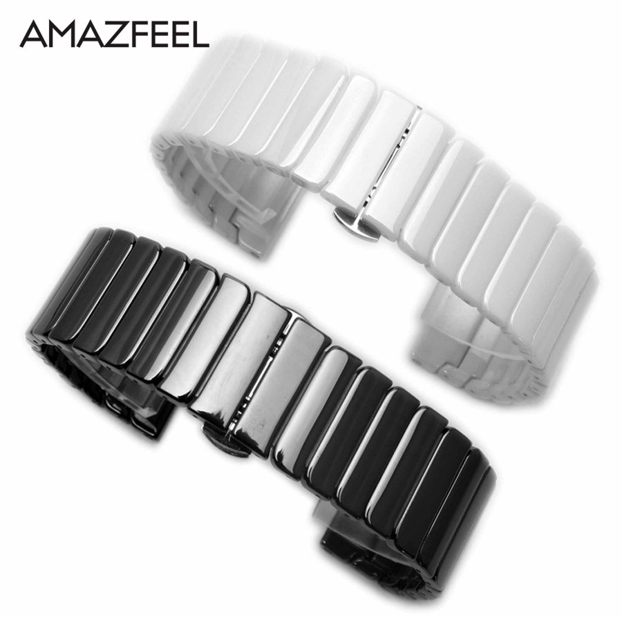 20/22mm Ceramic Bracelet Band Amazfit 1 2 Bip Pace Stratos 2 Wrist Watch Accessories For Xiaomi/Samsung Gear S2 S3 S4 Watchbands
