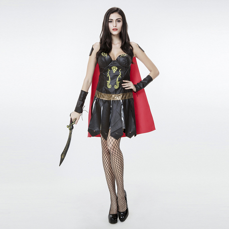 Girl's Roman Gladiator Sexy Fashion Cosplay Costume Halloween Purim Party Warrior Soldier Masquerade Fancy Dress With Red Cape