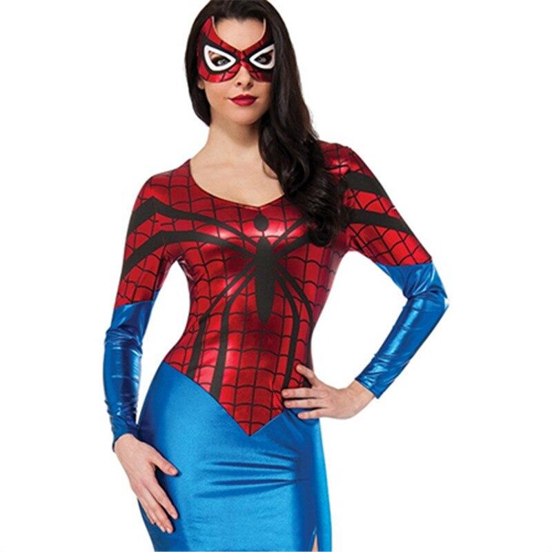 cosplay del super h roe avengers traje cl sico spiderman traje adulto de la mujer sexy disfraces. Black Bedroom Furniture Sets. Home Design Ideas