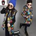 Menino da menina da criança de algodão-acolchoado jacketwinter jaqueta para meninas meninos impressão térmica fino médio-longo com capuz para baixo inverno outwear