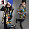 boy girl child cotton-padded jacketwinter down jacket for girls boys slim medium-long thermal print hooded down winter outwear