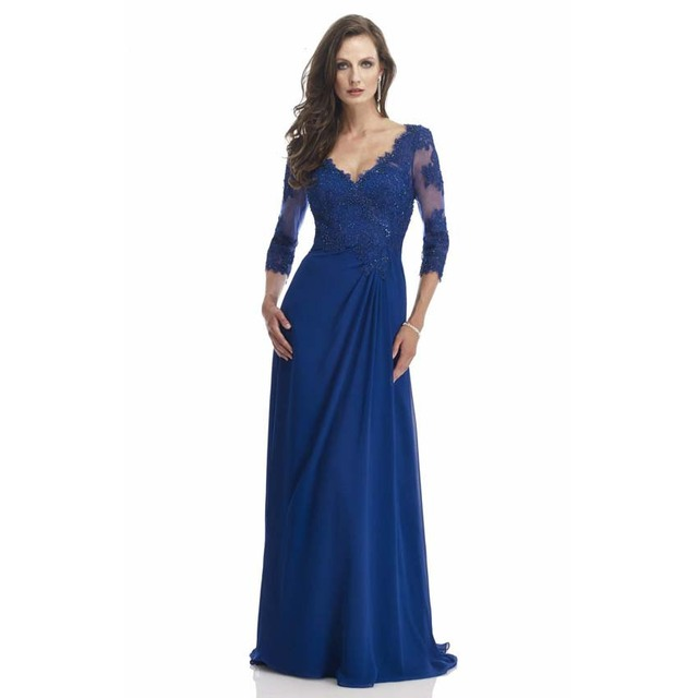 Women Party Dress 2019 Royal Blue Lace Long Sleeve Mother of the Bride  Dress Godmother Dress Vestidos Festa Madrinha Plus Size c227e63406ca