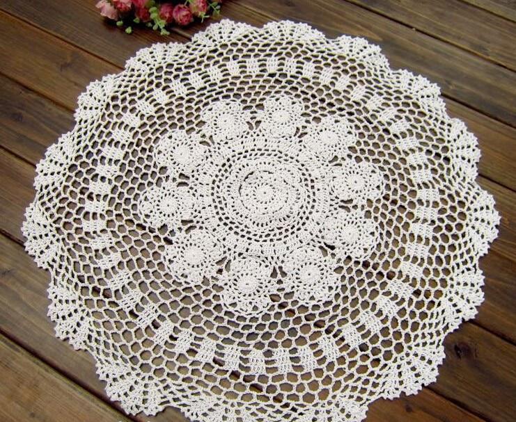 Flores de ganchillo hecho a mano mantel redondo blanco algodón ronda ...