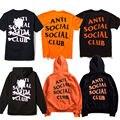ANTI SOCIAL CLUB T Camisas Dos Homens Das Mulheres 1:1 de Alta Qualidade Esqueleto Mastermind Japan Paranóico Hoodies Invictos T Camisetas