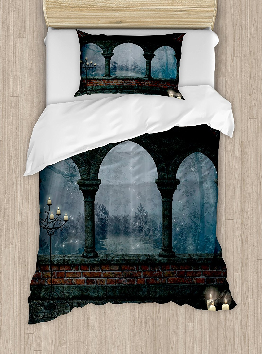 Gothic Duvet Cover Set Medieval Castle at Night with Old Arch and Candles Middle Age Misty Image Decor 4 Piece Bedding Set