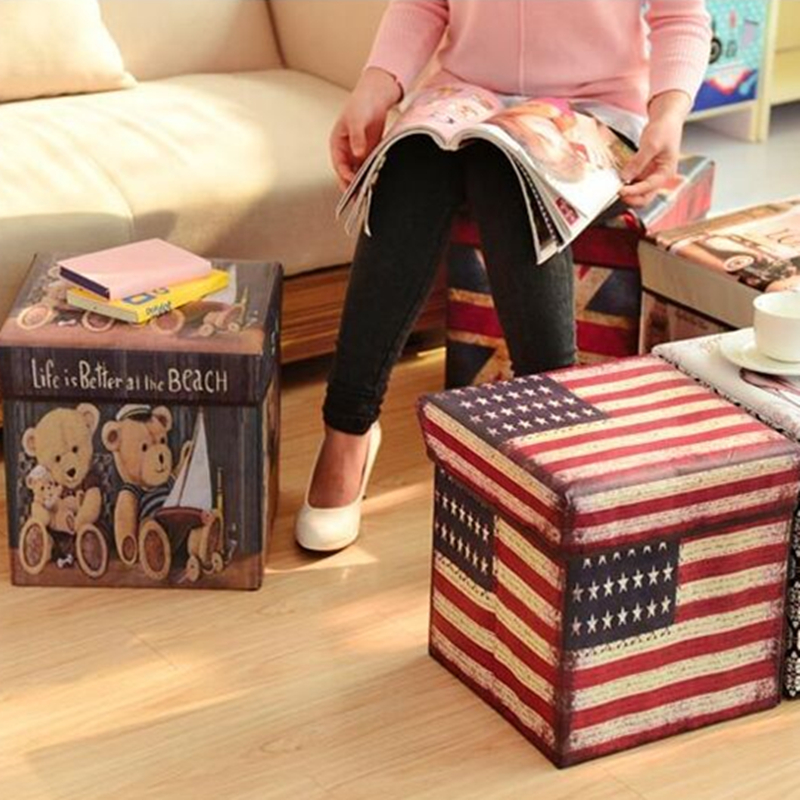 New Non Woven Fabric Folding Underwear Storage Box Bedroom: Hot Retro Folding Stool Sit Box Shoes Stool Storage Box
