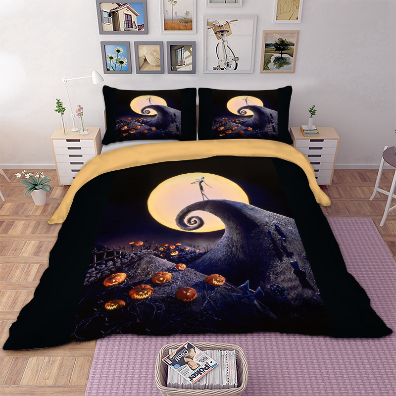 Jack-o-lanterns Halloween Bed Linen Set Quilts And Bedding Set Queen King Twin Full AU Single UK Double Moon Pillow Cases 3pcs