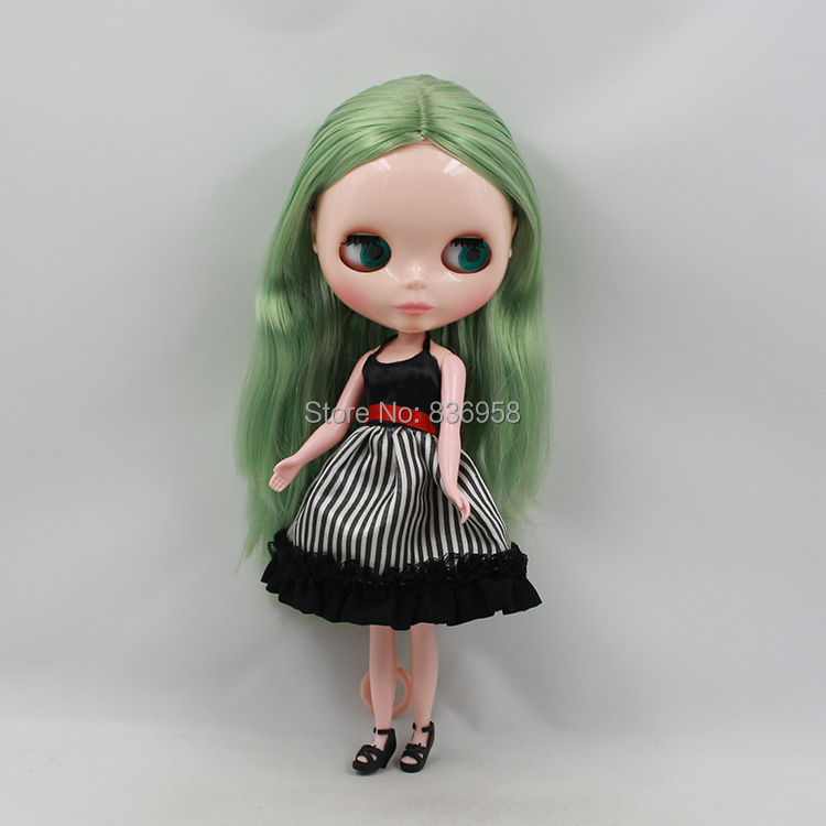 Nude Doll For Series No .230BL17148800 GREEN Long Straight hair white skin Suitable For DIY Change Toy For Girls