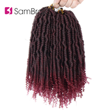 SAMBRAID Spring Twist Hair Extensions Synthetic Braiding Kinky Curly Crochet Passion 24 Strands/Pack