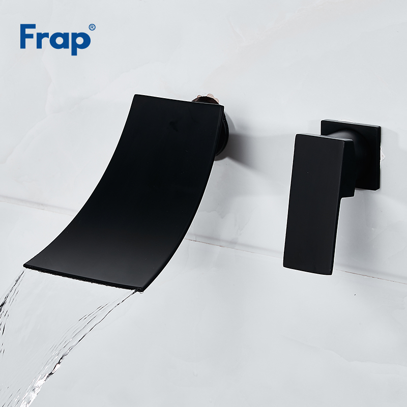 Frap Basin Faucet Hot Cold Water Mixer Wall Mounted waterfall Bathroom Faucets Black Single Handle Taps Torneira Cozinha Y40071Frap Basin Faucet Hot Cold Water Mixer Wall Mounted waterfall Bathroom Faucets Black Single Handle Taps Torneira Cozinha Y40071