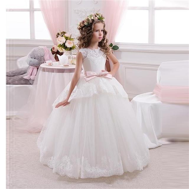 a85aa76c3cf Принцесса Бальное платье Белого Кружева Цветок Девочки Платья Для Свадеб  дешевые 2016 Тюль Пояса Лук Узел