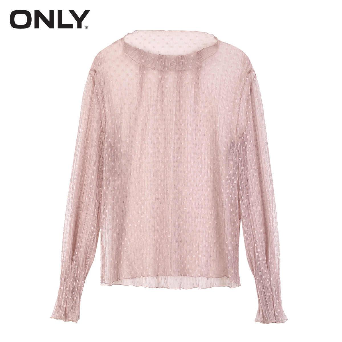 女性だけのモックネックパフスリーブポルカドットシースルー Tシャツ   118302517