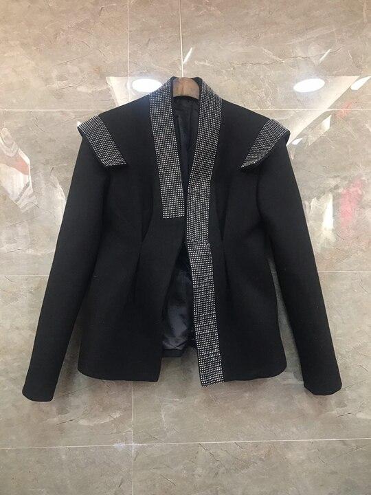 Hiver Veste Automne Sauvage 2018 Chaude De Heavy Court Longues Coupé Femmes Coat1102 Noir Manches Diamant Duty À 45nwB7xgw