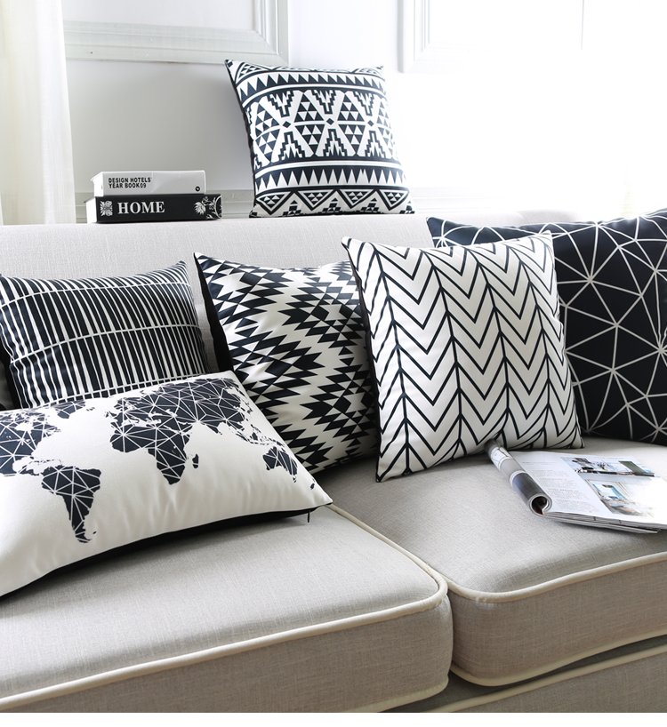 Black and white cushion covers world map geometric wavy stripe black and white cushion covers world map geometric wavy stripe pillow cases supersoft pillow covers bedroom sofa decoration in cushion cover from home gumiabroncs Images