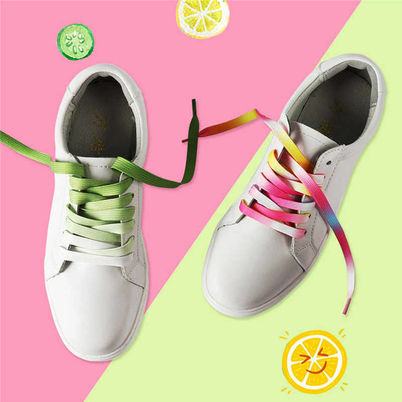 1 çift Degrade Gökkuşağı Naylon Ayakkabı Bağı 120 cm Düz Rahat Spor koşu ayakkabıları Dantel Unisex Sneaker Boots Ayakkabı Dizeleri