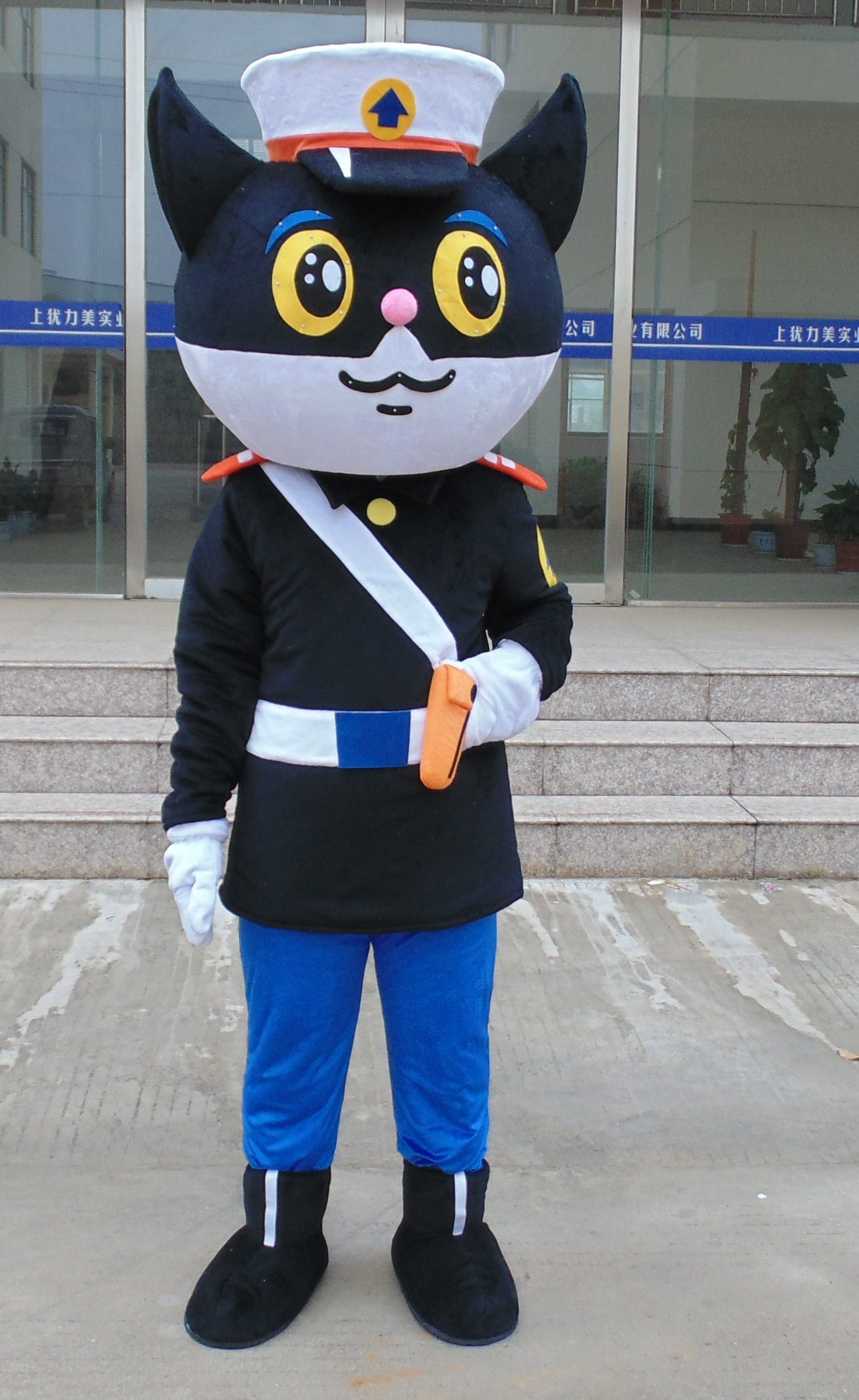 Helmet Black Cat Sheriff Mascot Costumes Unisex  Cartoon Character Cosply  Fancy Dress Costumes Free Shipping