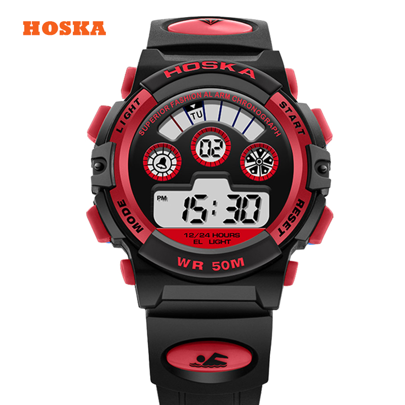 Hoska Cartoon Children s Watch Alarm Sports Waterproof Students Watches Swim Led Back Light Kids Wristwatch