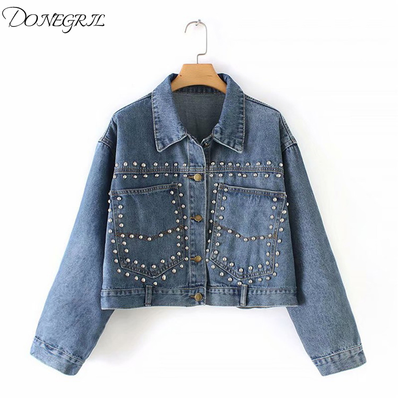 New Denim Coat Rivet Women Ladies Jean   Jacket   2019 Spring Autumn Pockets Women Blue   Basic     Jackets