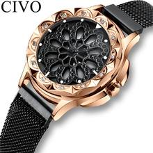 CIVO Fashion Watch Diamond Rotating Dial Woman Waterproof Watch Mesh Strap Analo