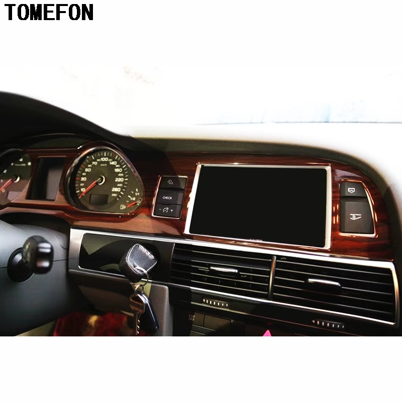 TOMEFON For Audi A6L A6 L 2005-2011 LHD ABS Plastic Carbon Fiber Wood Paint Front Interior Dashboard Air Vent GPS Central Trim