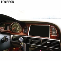 TOMEFON For Audi A6L A6 L 2005 2011 LHD ABS Plastic Carbon Fiber Wood Paint Front Interior Dashboard Air Vent GPS Central Trim