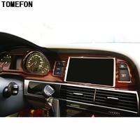 TOMEFON For Audi A6L A6 L 2005 2011 LHD ABS Plastic Carbon Fiber Wood Paint Front Interior Dashboard Air Vent GPS Central Trim