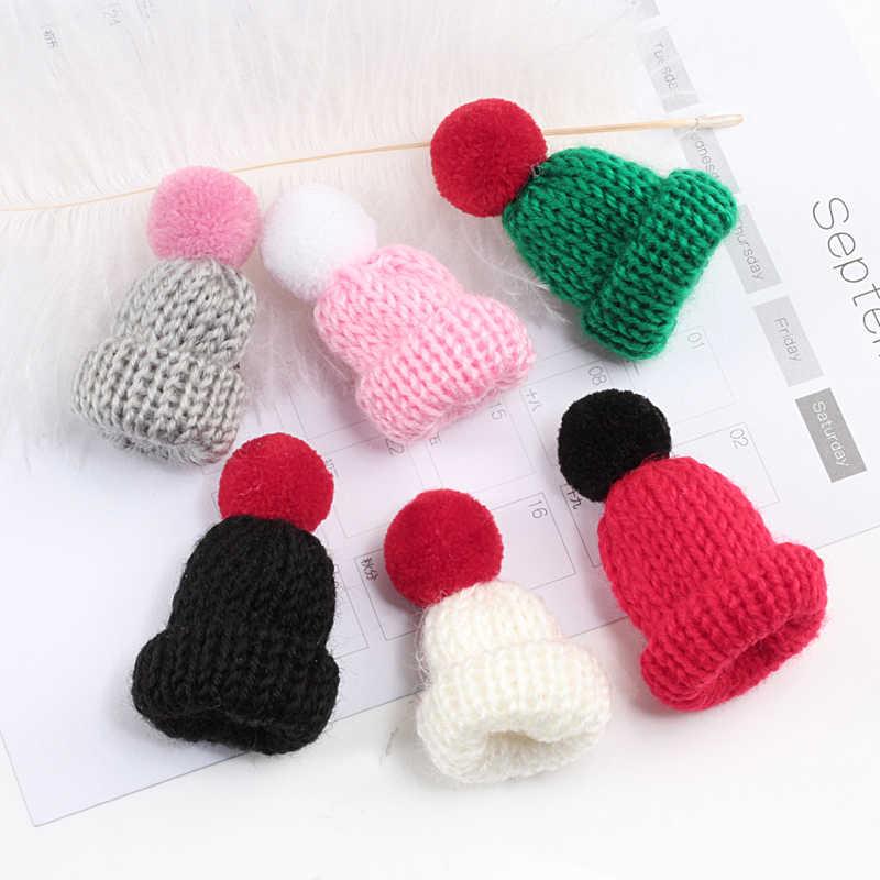 19 Warna Lucu Mini Rajutan Hairband Topi Bros Sweater Pins Lencana Kerah Aksesoris Pakaian Kreatif Topi Pin Bros Wanita