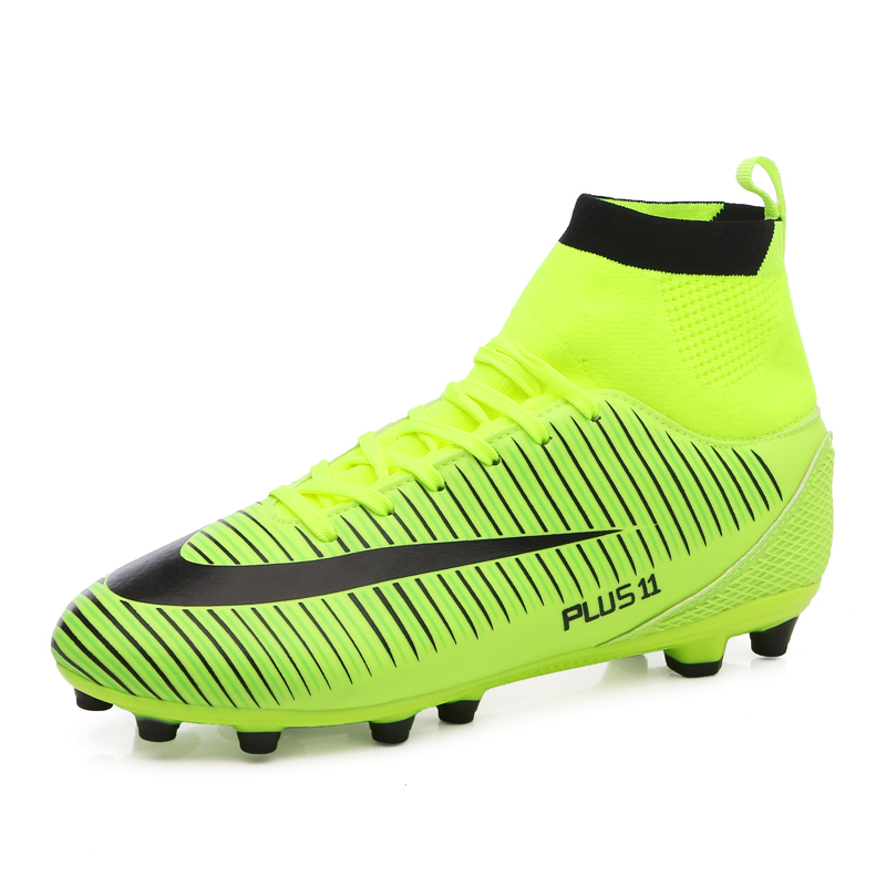 87944317d Men's High Top Soccer Cleats aterproof Artificial Leather Football boots  with Studs Soccer Football shoes Plus Nail sport shoes-in Soccer Shoes from  Sports ...