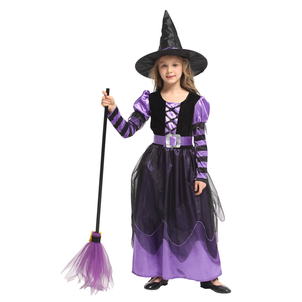 Little Naughty Violet Witch Costume Sorceress Costumes for Girls Girl Halloween Purim Party Carnival Cosplay Dress Up 2