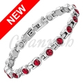 Channah 2017 Women Silver Magnetic Stainless Steel Bracelet Wine Red 17pcs Branded Crystals Bangle Ladies Free Shipping Charm