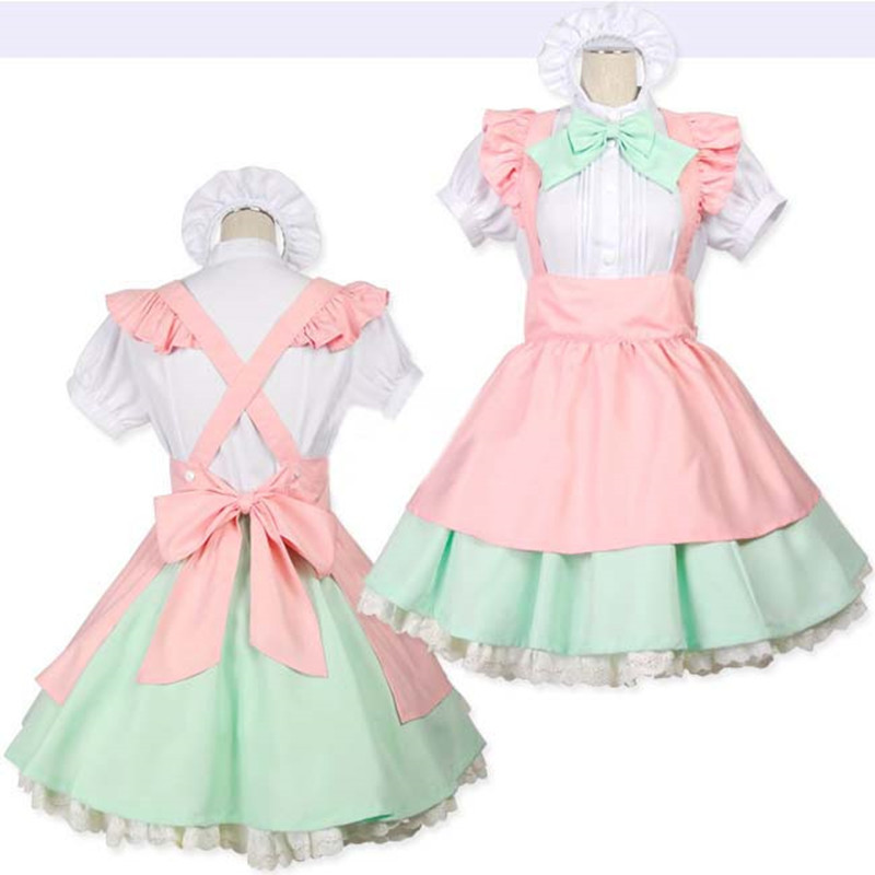 New Japan Anime Candy-Colored Cafe Cosplay Costumes Princess Dresses Maid Dress Coffee Maid Uniform