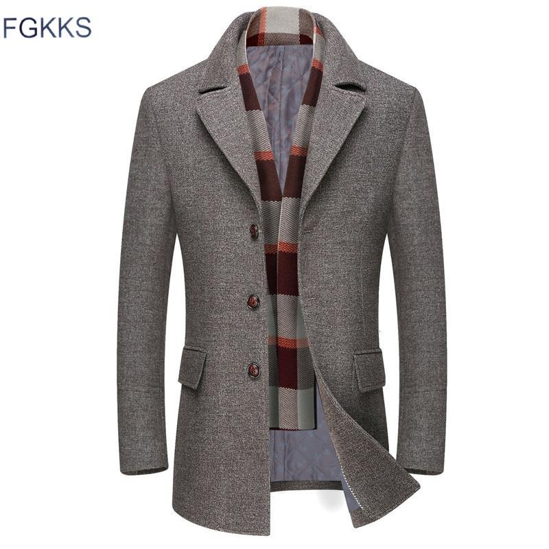 FGKKS Men Winter Wool Coat Men's Casual Warm Thick Solid Color Simple Wool Blends Woolen Pea Coat Male Trench Coat Overcoat