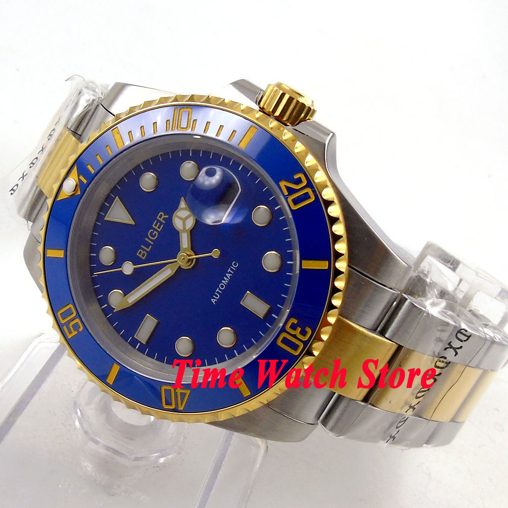 40mm blue dial date luminous saphire glass gold ring Ceramic Bezel Automatic movement  Mens watch BL12340mm blue dial date luminous saphire glass gold ring Ceramic Bezel Automatic movement  Mens watch BL123