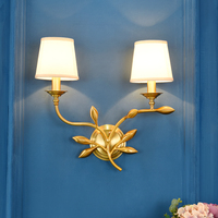 Jane Beautiful Living Room Living Room Bedroom Wall Lamp European Style Bedhead Double Head Pure Copper