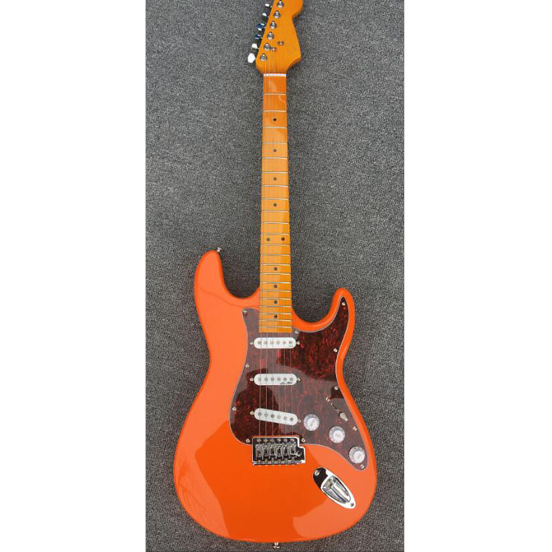 Custom shop,High quality ST electric guitar,Maple fretboard,Orange red body,3*standard single coils pickups,Real picture! 8x st electric guitar pickups single track bridge small pickups