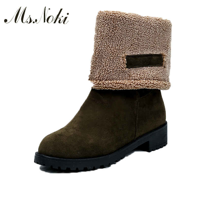 Ms.Noki 2017 Spring/Autumn Ankle Boots For Women Medium Heel Flock Nubuck Square heel Women's Fashion Short Martin Shoes bottes femmes 2017 autumn fashion martin boots leather shoes woman platform square medium heel ankle boots for women plus size