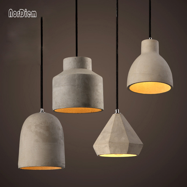 20 kinds loft cement pendant lights modern industrial for Luminaire suspension 4 lampes