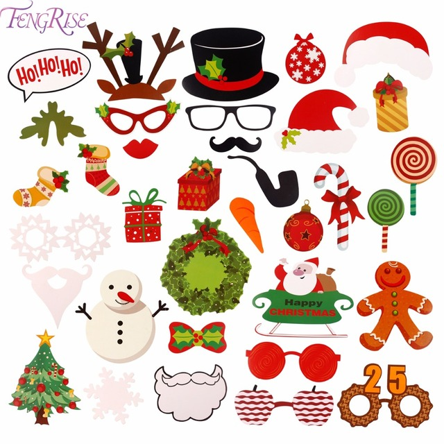 fengrise merry christmas theme photo booth props for christmas decoration santa claus gifts photobooth christmas party