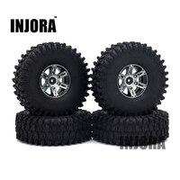 4PCS 1 9 Black Beadlock Wheel Rim Tires For 1 10 RC Rock Crawler Axial SCX10