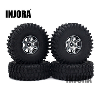 4PCS 1 9 Black Beadlock Wheel Rim Tires For 1 10 RC Rock Crawler Axial SCX10