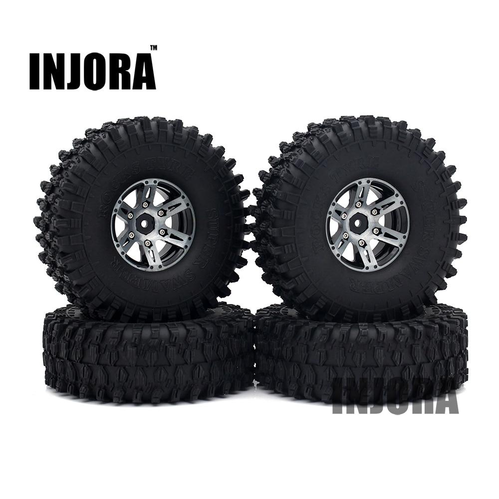 4 pcs 1.9 Noir Roue Beadlock Jante Pneus pour 1/10 RC Rock Crawler Axial SCX10 90046 90047 D90 D110 TF2 Traxxas TRX-4