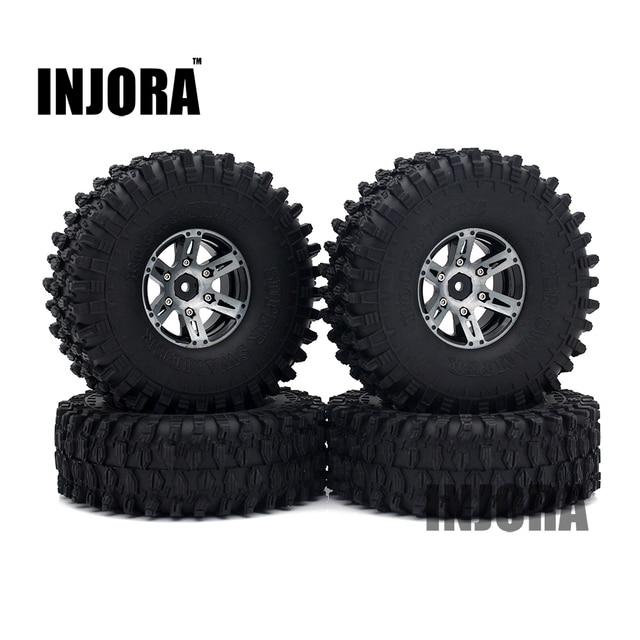 """4 pièces 1.9 """"noir Beadlock roue jante pneus pour 1/10 RC roche chenille Axial SCX10 90046 90047 D90 D110 TF2 Traxxas TRX-4"""