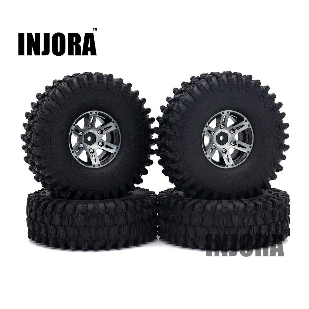 4PCS 1.9 Black Beadlock Wheel Rim Tires for 1/10 RC Rock Crawler Axial SCX10 90046 90047 RC4WD D90 D110 TF2 Traxxas TRX-4