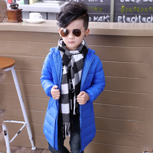 Фотография Duck down jacket winter fluff long coat for boy girls 2017 newest solid light style brisk parks warm cloth parks  hot sales