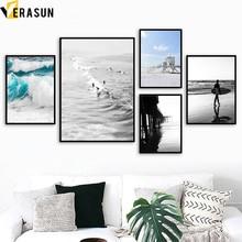 VERASUN Beach Mořské vlny Surf stěna Umění Canvas malba Severský plakát Krajina plátno tisků Wall obrazy pro obývací pokoj Decor