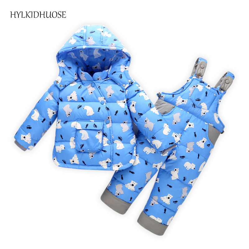 HYLKIDHUOSE Winter Baby Girls Boys Clothes Suits Infant White Duck Down Clothing Thickening Windproof Child Kids Coats+Overalls hylkidhuose 2018 baby girls boys winter clothes suits children clothes suits white duck down thicken coats bib pants kids suits