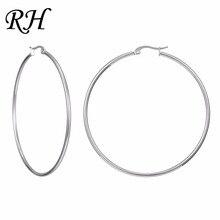 Big Huge Smooth Circle Hoop Earrings For Women Stainless Steel Hyperbole Earrings Large Round Earrings Ring Earring Jewelry